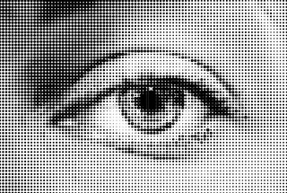 Abstract woman grey eye made from dots