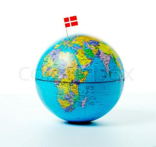 MIniature flag on a globe