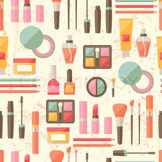 vintage makeup backgrounds. seamless grunge background with cosmetics flat icons. vintage makeup backgrounds s