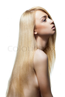 Woman with straight long blond hair isolated