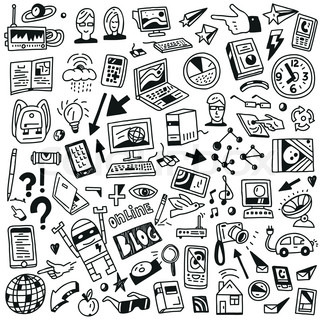 Devices , computers, technology - set icons in sketch ...