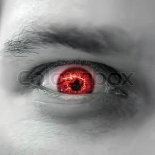 Serious sad and angry looking man with red eye. Vector