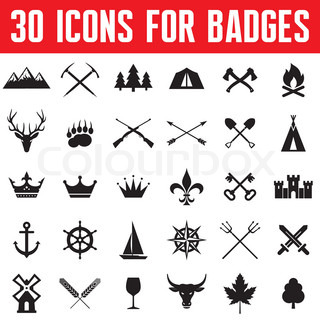 30 Icons for Logo, Badges and Design Works