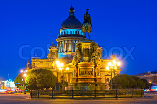 famous cathedral of St. Isaac in St. Petersburg night shooting