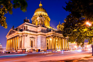 beautiful night shot of the Cathedral of St. Isaac's Cathedral in St. Petersburg