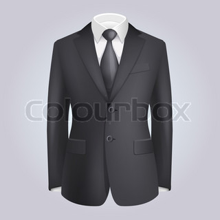 Male Clothing Dark Suit with Tie. Vector