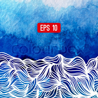 Abstract vector background. Watercolor background with waves. Blue watercolour banner. Vector illustration. Wavy graphic. Painted image. Can be used for card (postacard), menu, banner, web, printing