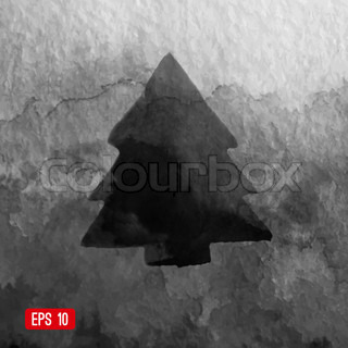 Vector grunge Christmas tree design. Black christmas background. Watercolor background. Textured backdrop with christmas tree silhouette can be used for cards design, web, printing etc.