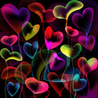 Colored hearts bubbles abstract background