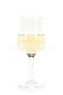 A glass of white wine isolated on white