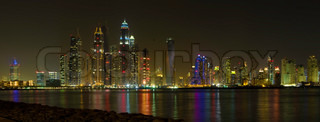 Beautiful panoramic view of Dubai at night time, UAE United Arab Emirates