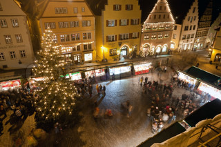 Christmas Market by night in Rothenburg ob der Tauber