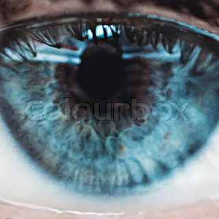 Close up of a blue eye. Vector