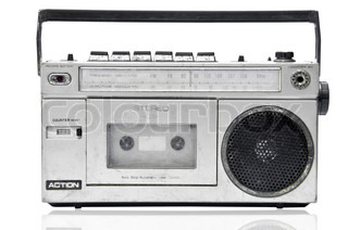 vintage radio cassette recorder isolated on white stock. Black Bedroom Furniture Sets. Home Design Ideas