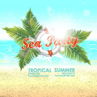 Summer background with sunny beaches and tropical blue waters. Sea party. Vector illustration