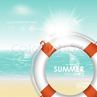 Summer tropical sea background with lifebuoy. Vector illustration
