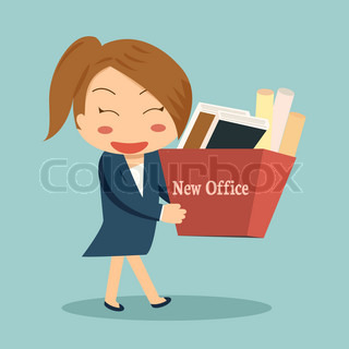 Businesswoman moving into a new office or changing jobs carrying a cardboard box with her documents.