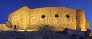 Chlemoutsi Castle at night, Peloponnesus, Greece