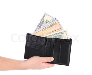 Purse with dollar bills in hand.