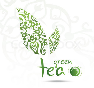 Green tea with leaf,s vector illustration | Vector | Colourbox