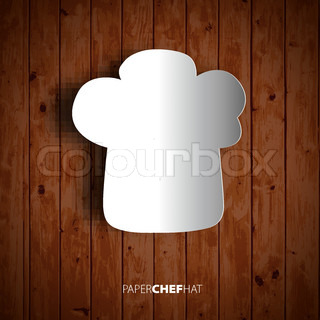 Papercut chef hat on wooden background. Vector eps10