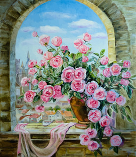 bouquet of peonies at the window