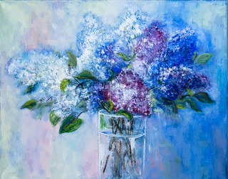 bouquet of lilac in a glass vase