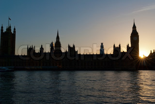 Silhouette of Big Ben and the Houses of Parliament in London in sunset in sunrise