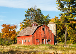 Old Red Barn and Silo