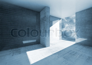 Abstract blue empty room interior with concrete floor and tile on