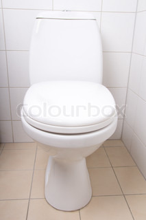 White ceramics wc pan in tiled bathroom stock photo colourbox - Object deco wc ...