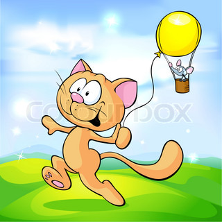cat playing with mouse on green meadow - cute vector illustration