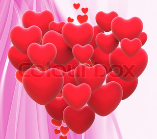 Heart Made With Hearts Means Wedding Party Or Romanticism