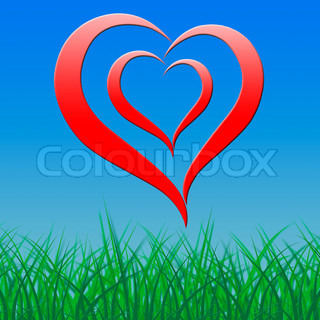 Heart On Background Shows Romance Love And Passion