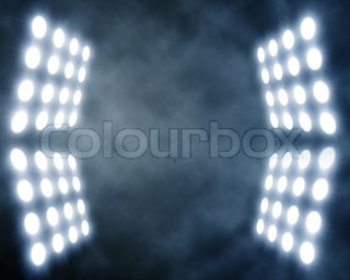 stage spotlights in artificial smoke
