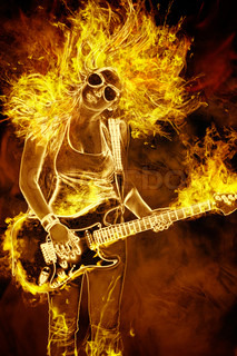 young woman with guitar in fire flames