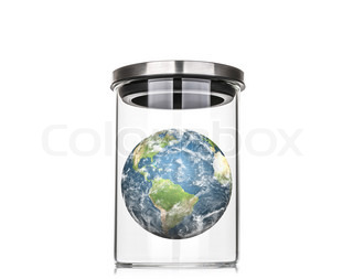 Earth inside a glass jar (Elements of this image furnished by NASA)