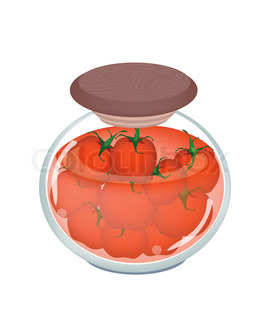 , Illustration of Pickled Red Tomatoes or Preserved Red Tomatoes ...