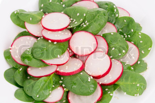 Radish salad with spinach.