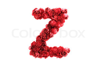 Red roses letter Z, isolated on white background