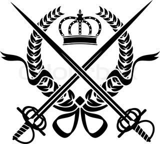 Heraldic design with a wreath, swords and crown