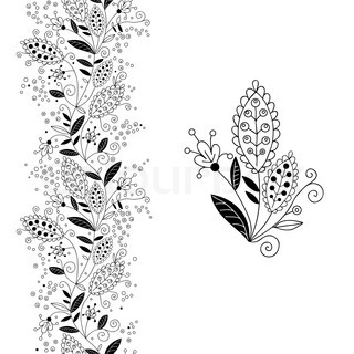 Seamless floral border and small bouquet.