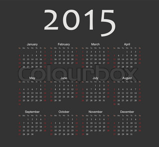 Simple black european 2015 year vector calendar