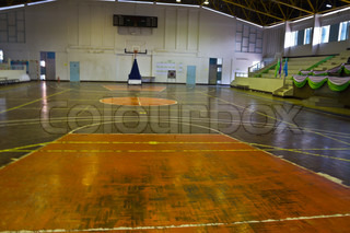 Wooden Floor Of Sports Hall With Marking Lines Stock Photo Colourbox