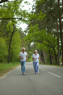 Senior couple run