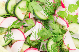 Radish salad with cucumber.