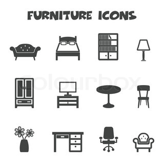 vector isoliert m bel icons stock vektor colourbox. Black Bedroom Furniture Sets. Home Design Ideas