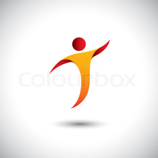 icon for activity like dance, spin, fly - concept vector graphic