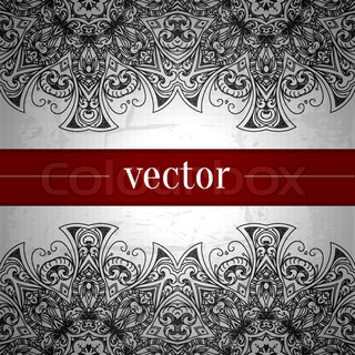 Vintage vector pattern. Hand drawn abstract background. Retro banner. Can be used as book cover, invitation, wedding card. Abstract floral border. Lace pattern. Royal design element. Silver texture.