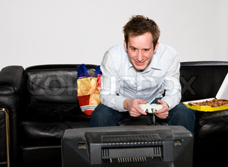Image of 'tv, computer game, junkfood'